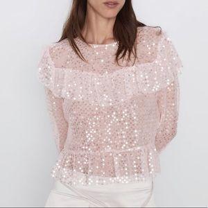 Zara NWT🎀 Gorgeous sequin ruffle top🎀💖